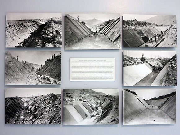 Images of Los Angeles Aqueduct under construction in the 1910s. Cement channel construction depicted. Exhibition display from Eastern California Museum, Independence, California. | Photo: Tyler Stallings.