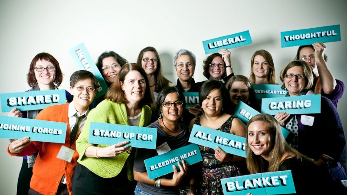 A Chicago Women's Health Center gala. The signs are words associated with CWHC's approach to health care | Courtesy of CWHC
