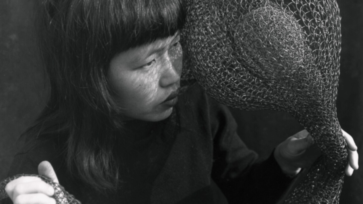 "Ruth Asawa with wire sculpture | Still from ""Artbound"" Masters of Modern Art"