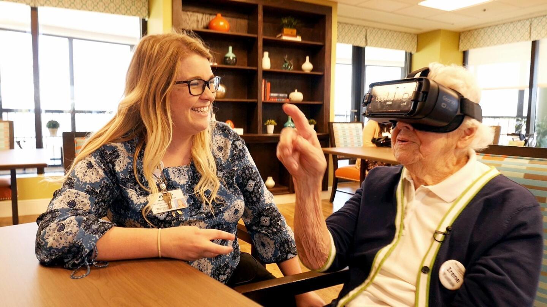 A man wears a VR headset.