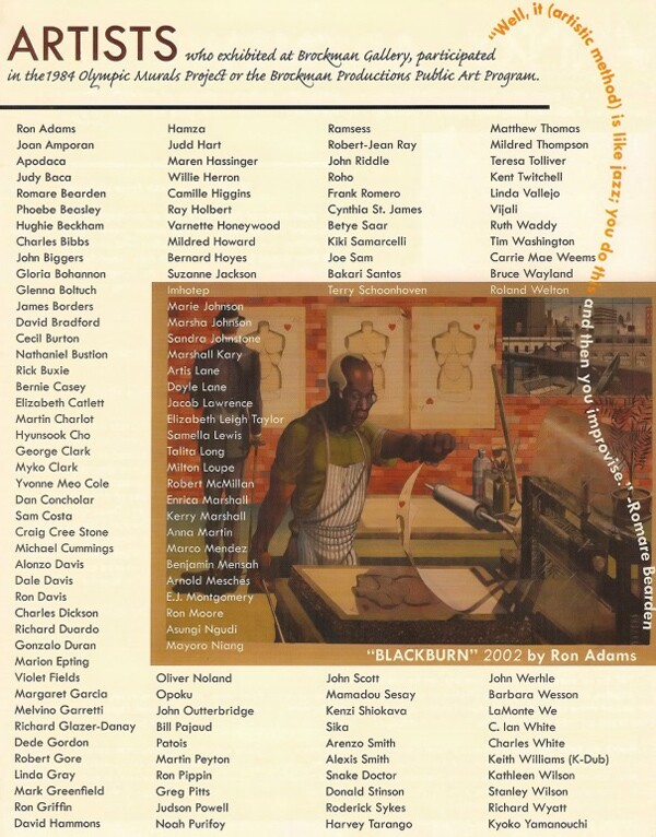 List of artists who exhibited at the Brockman Gallery or participated in Brockman Production programs | Courtesy Brockman Gallery Archive