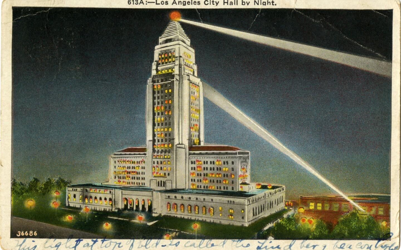 Postcard of Los Angeles City Hall at night, 1935