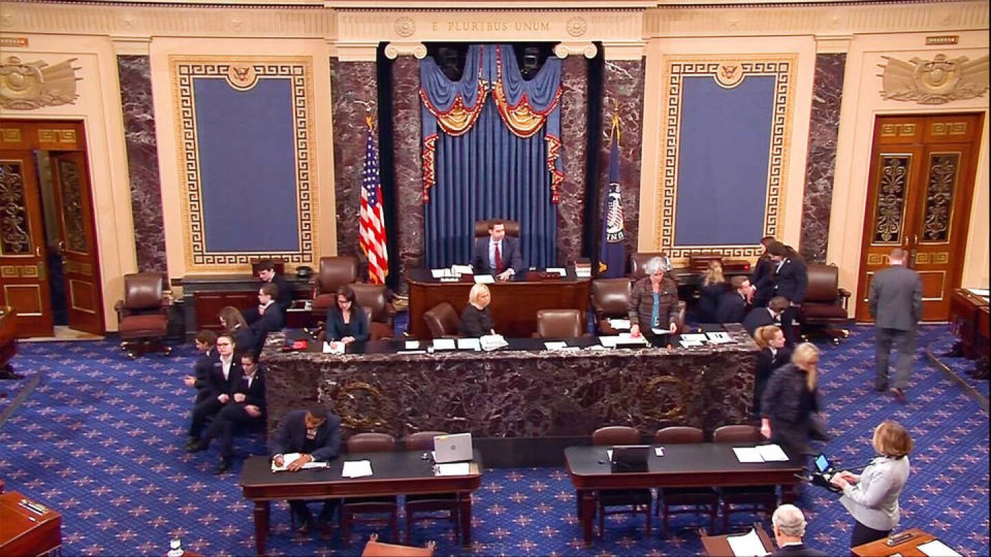 Still of footage from the U.S. Senate floor. | Democracy Now