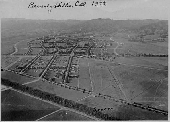 Aerial view of Beverly Hills, 1922. Courtesy of Beverly Hills Public Library Historical Collection