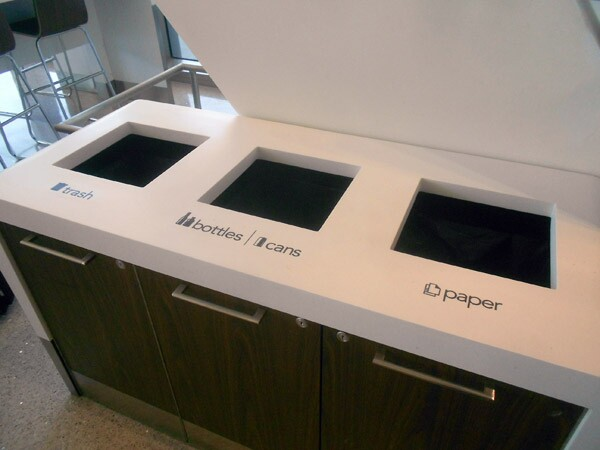 Separated waste/recycling receptacles at the new Tom Bradley International Terminal.