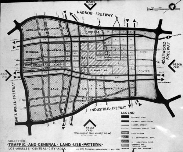 In the late 1950s, downtown Los Angeles became 'Central City' on planners' maps. Courtesy of the USC Libraries - Los Angeles Examiner Collection.
