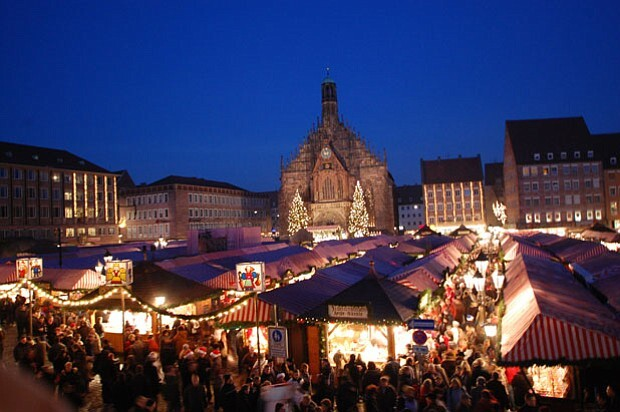 Nuremburg Christmas Market lights up at night. | Courtesy of NETA