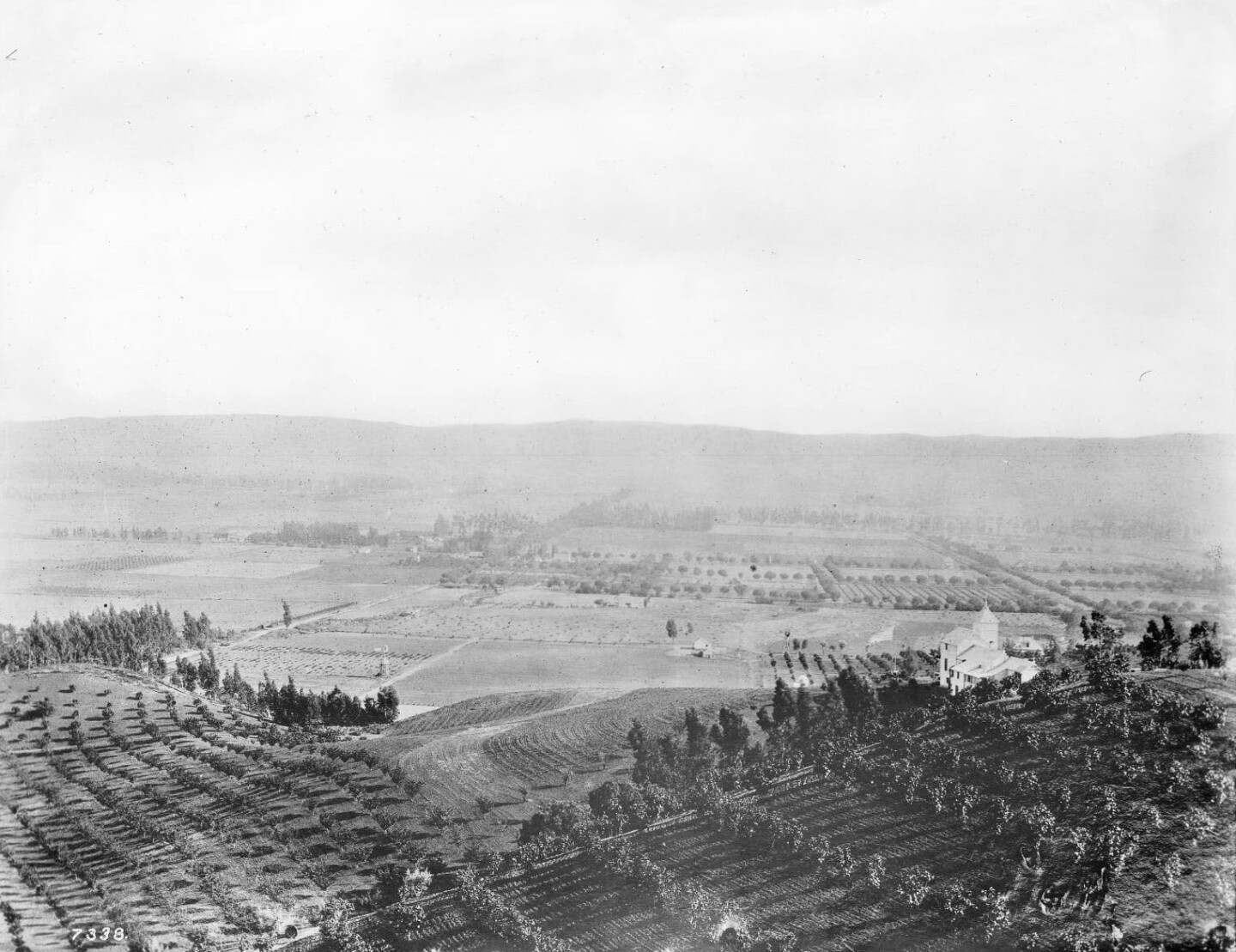 A panoramic view of Hollywood, looking south from Krotona Hill in 1900.