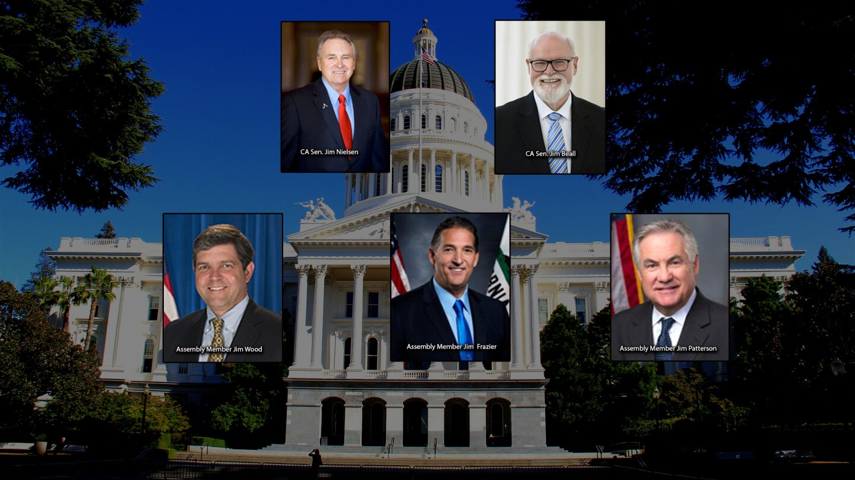 Members of California's legislature who are white men named Jim.