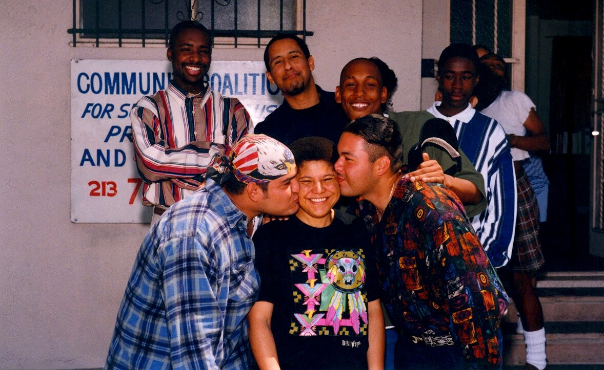 Now Congresswoman Karen Bass (center) and co-author Marqueece Harris Dawson top left corner, and other SCYEA youth in the 1990s. | Community Coalition