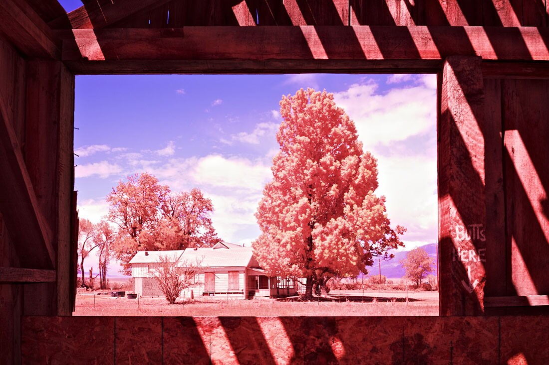 Window View of Boarded-Up Farm House from Abandoned Barn- Color/Infrared Exposure- Bishop, CA -2016   Osceola Refetoff