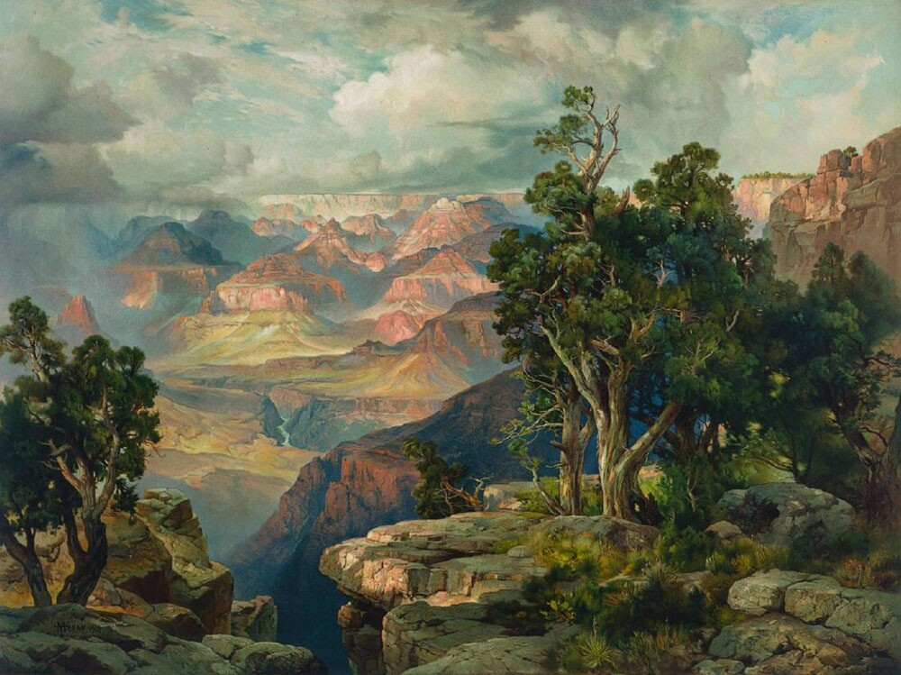 Thomas Moran's painting of the Grand Canyon, com­ missioned by the Santa Fe Railroad, now hangs in the Santa Fe Art Collection at the company's headquarters inChicago. Courtesy Atchison, Topeka and Santa Fe Railroad Company.