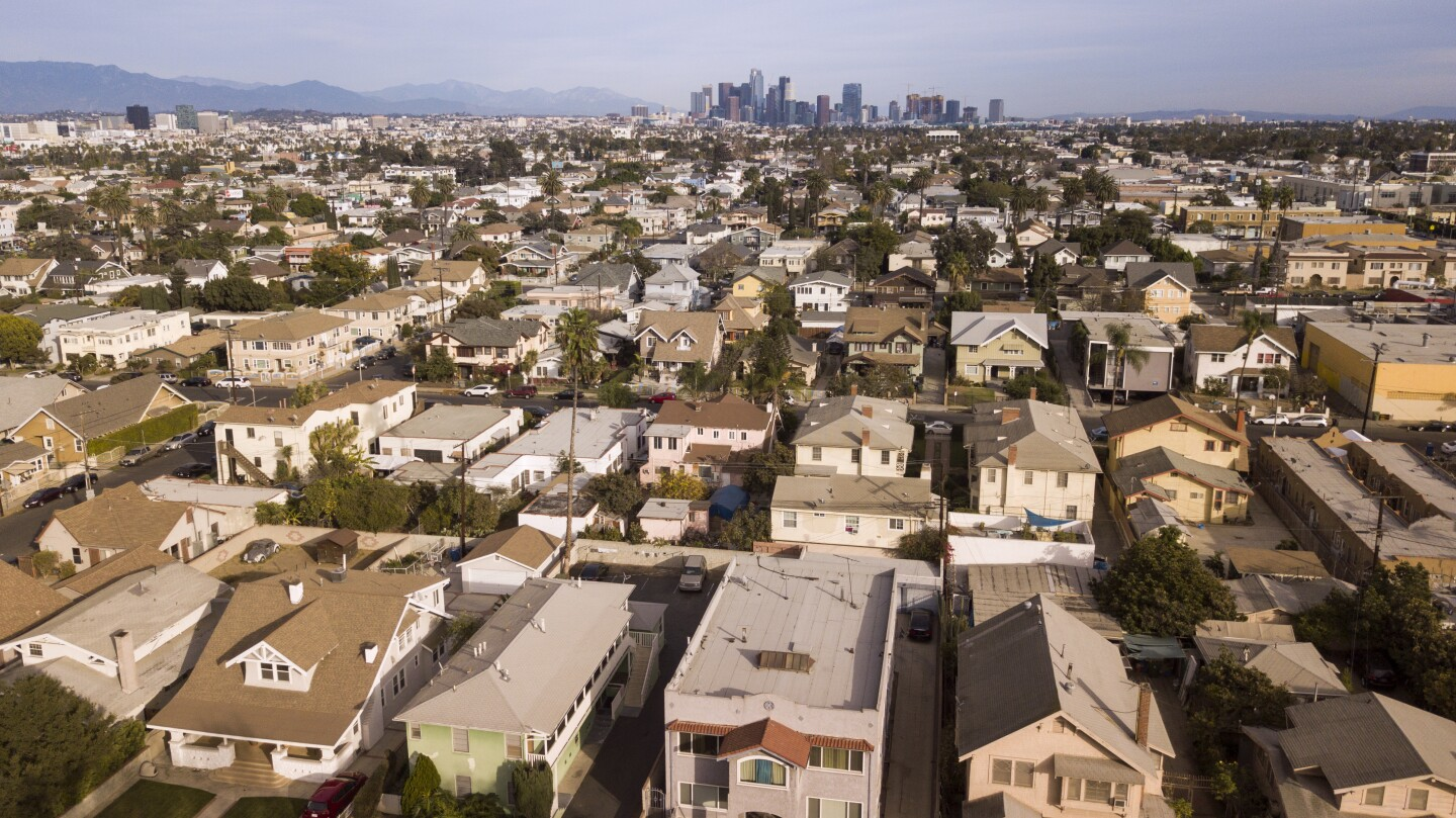Aerial view of housing stock in Los Angeles, California.
