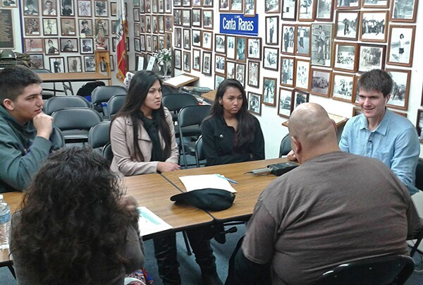 MVHS students listen to members of SEMAP and La Historia Society, photo by Luis Sierra Campos