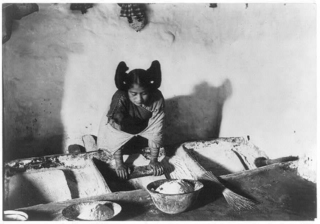 Hopi woman grinding corn, Arizona (1909). | Prints and Photographs Division, Library of Congress
