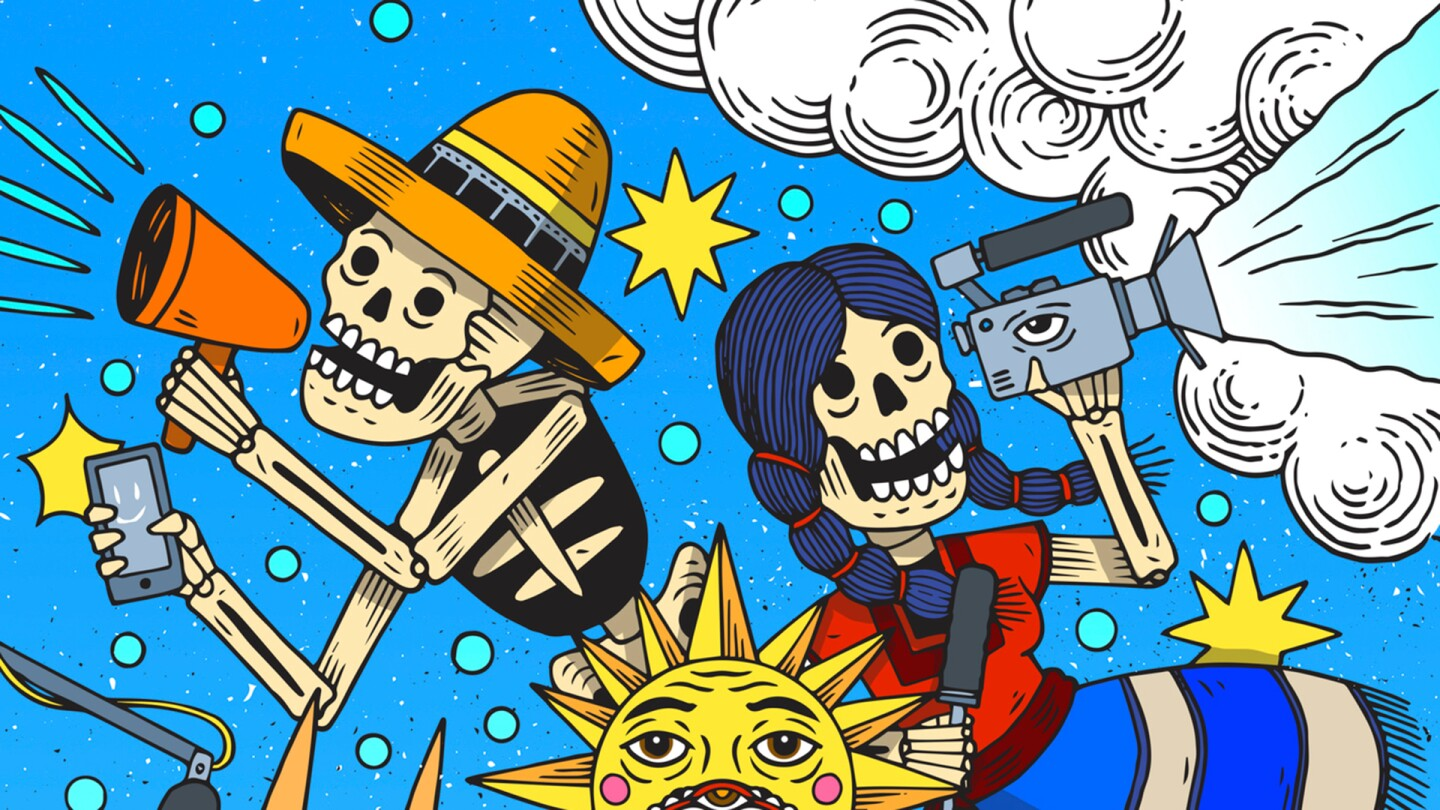 Two skeletons. One holding a bullhorn and phone, another is holding a video camera. A detail of the Hola Mexico film festival poster for 2020 by Mauricio Groenewold González | Courtesy of Hola Mexico