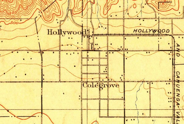 Hollywood and Colegrove appear as neighbors in this 1900 topographic map. Courtesy of the USGS Historical Topographic Map Collection.