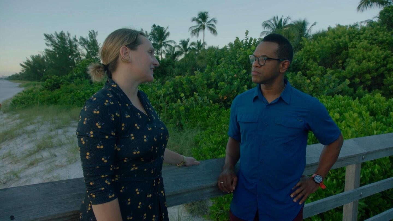 "Thomas Allen Harris speaking to a woman in ""Family Pictures USA: Southwest Florida."""