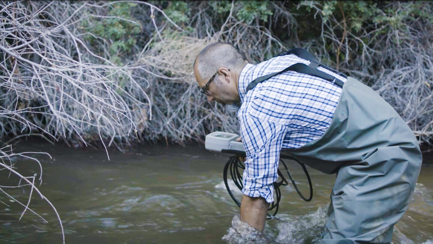"""""""Managing Groundwater with the Paiute"""" Alan Bacock, Big Pine Paiute Tribe of the Owens Valley's Water Program Coordinator, testing water levels."""