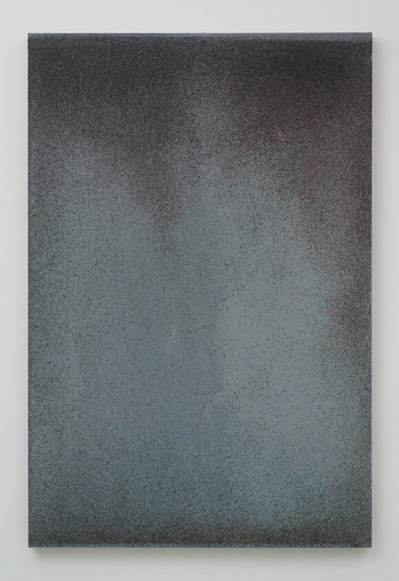 """John Knuth, """"The 5,"""" 2013, Watercolor/Flyspeck on canvas, 72 x 48."""