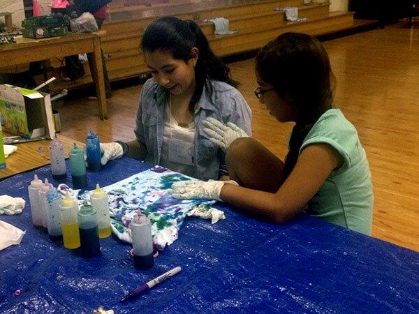 Sophia Caloca and Rosalinda Montoya design tie-dye shirts