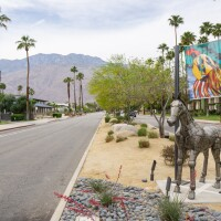 """Christopher Myers' """"The Art of Taming Horses"""" is installed at Tahquitz Canyon Way in Palm Springs for Desert X 2021."""