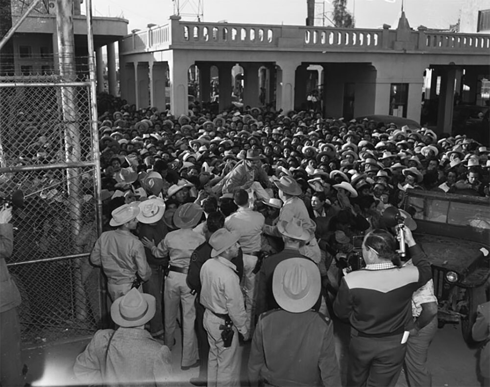 Mexican workers await legal employment in the United States, Mexicali, Mexico.