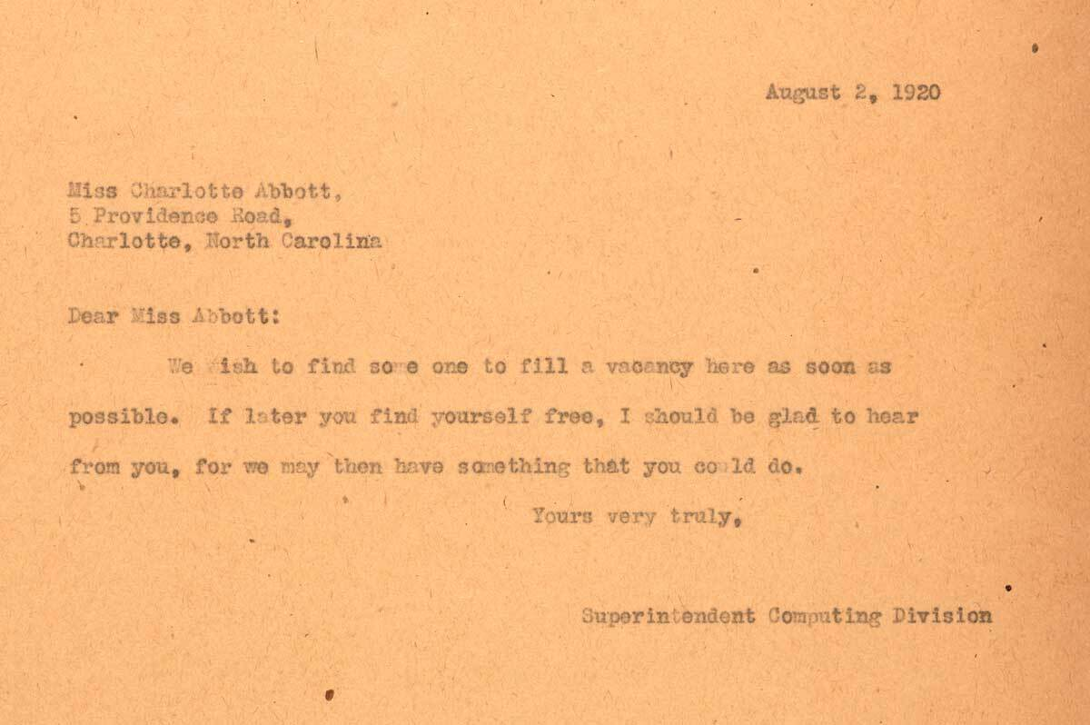 Letter to Charlotte Abbott from F.H. Seares of Mt. Wilson observatory | Image courtesy of the Observatories of the Carnegie Institution for Science Collection at the Huntington Library, San Marino, California