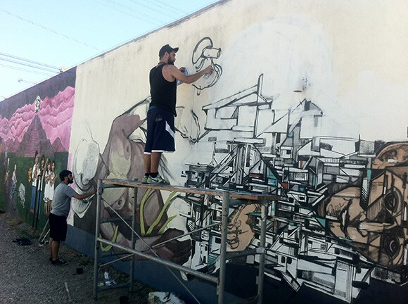Pacoima mural in progress.   Photo: Walter Meyer.