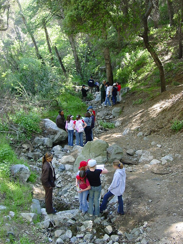 Fifth-graders from Sutherland Elementary School, Glendora, are testing water quality samples from this little stream near the San Gabriel Canyon Environmental Education Center. | Photo: Farley Olander