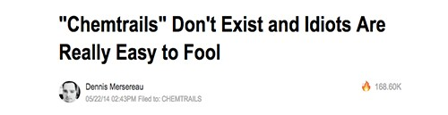Screen shot of unhelpful chemtrails debunking headline | Image: The Vane