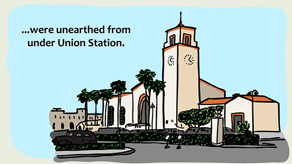 """An illustration of L.A.'s Union Station is part of Audrey Chan's """"Chinatown Abecedario: A Folk Taxonomy of L.A.'s Chinatown."""""""