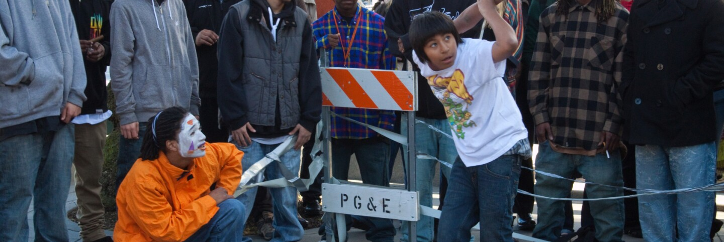 Young dancer popping and locking in San Francisco. (primary)