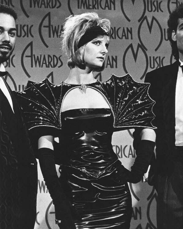 Astrid Plane of Animotion wore an outfit inspired by dinosaurs to the 1986 American Music Awards. Courtesy of the Herald-Examiner Collection, Los Angeles Public Library.