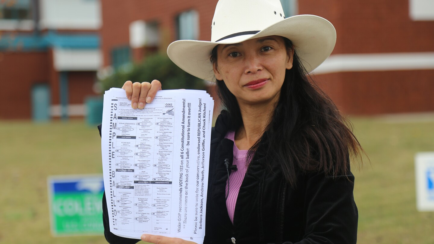 "Sue Googe poses with a sample ballot. | From ""America ReFramed: First Vote"""