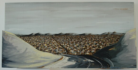 Karla Klarin, Valley View, 1984 / ●	Acrylic paint on 3-D construction, 30 in. x 60 in. | Courtesy of CSUN.