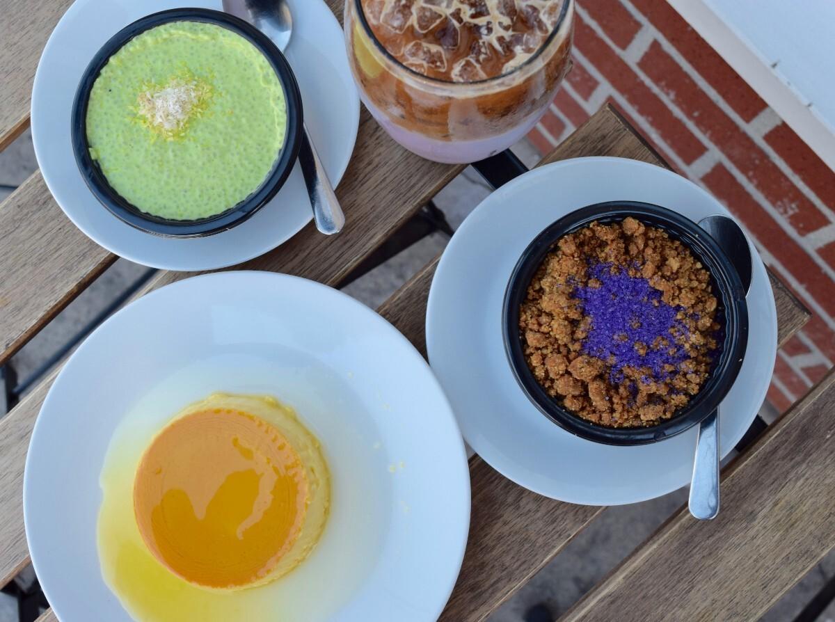 Pandan chia pudding, mango crème caramel, ube upside down pie, and ube horchata   Danny Jensen