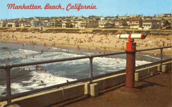 Postcard depicting Manhattan Beach, circa 1950s. From the James H. Osborne Photograph Collection