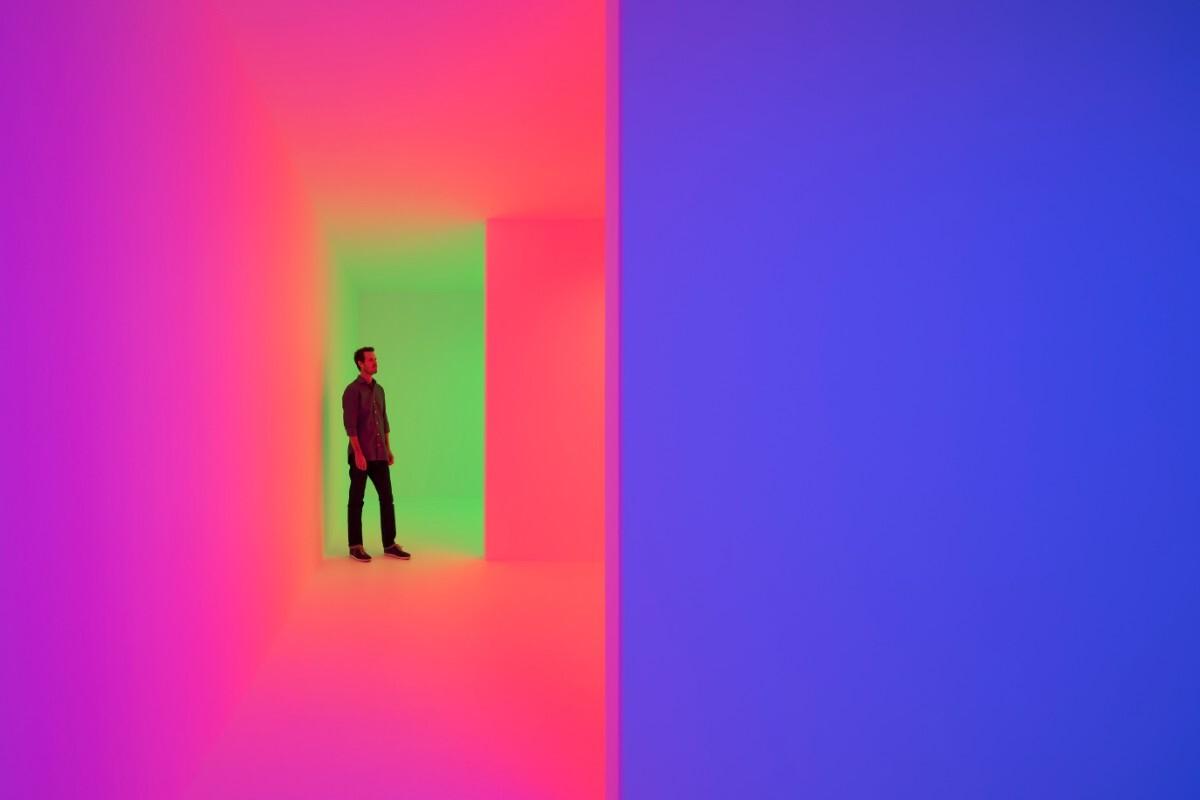 "B. Carlos Cruz-Diez, Chromosaturation, 1965/2017 ""Kinesthesia: Latin American Kinetic Art, 1954-1969,"" Palm Springs Art Museum. | Lance Gerber"