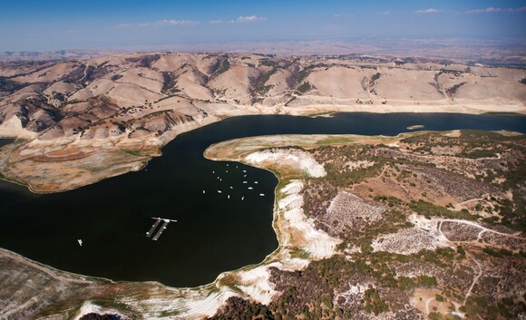 An aerial view of Lake San Antonio on the border of Monterey and San Luis Obispo counties.   Photo: Brittany App.