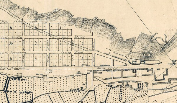 When E.O.C. Ord platted out Los Angeles' streets in 1849, he named one after an adobe fort (seen on the right) named Fort Moore. Detail of Ord's 1849 plan, courtesy of the Map Collection - Los Angeles Public Library.