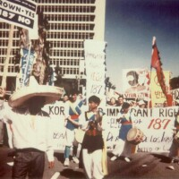 Thousands of people take to the streets of Los Angeles in 1994 to protest Proposition 187
