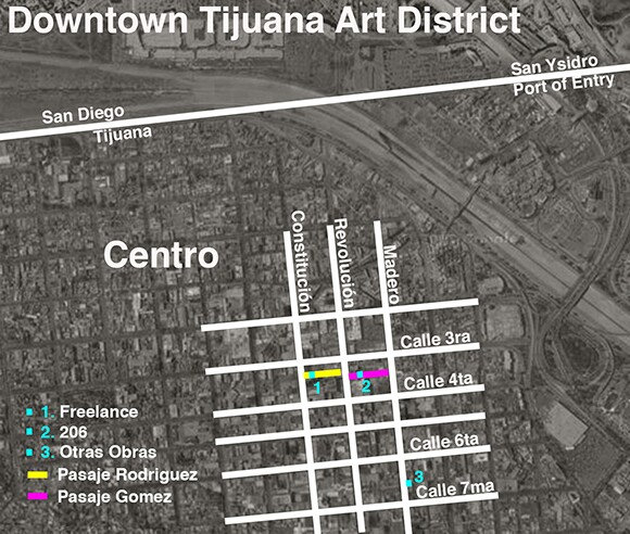 Map of Downtown Tijuana Art District.