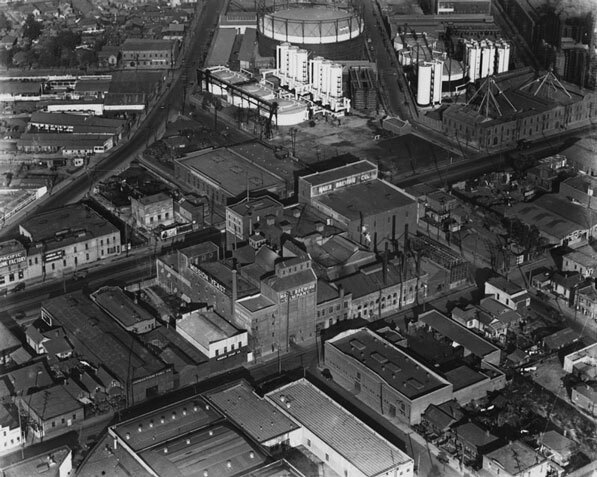 Aerial view of the Maier Brewing Company in 1924. Courtesy of the Security Pacific National Bank Collection, Los Angeles Public Library.
