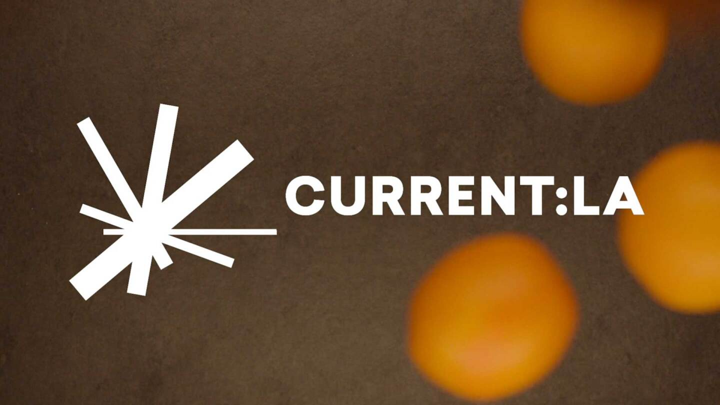 "Current:LA Food logo with a background of oranges | Still from ""Artbound"" Current:LA"