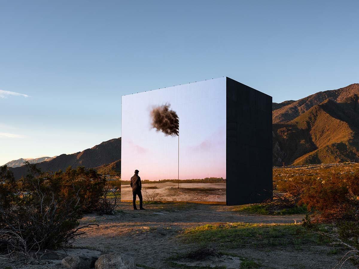 Desert X installation view, John Gerrard, Western Flag (Spindletop, Texas) 2017, 2017-2019   Lance Gerber, courtesy of Desert X