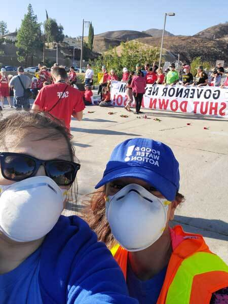 Jasmin Vargas (left) and her colleague Amanda Pantoja at a rally in front of the Aliso Canyon natural gas storage facility that residents want closed after being the site of the largest natural gas leak in U.S. history in 2015. | Courtesy of Jasmin Vargas