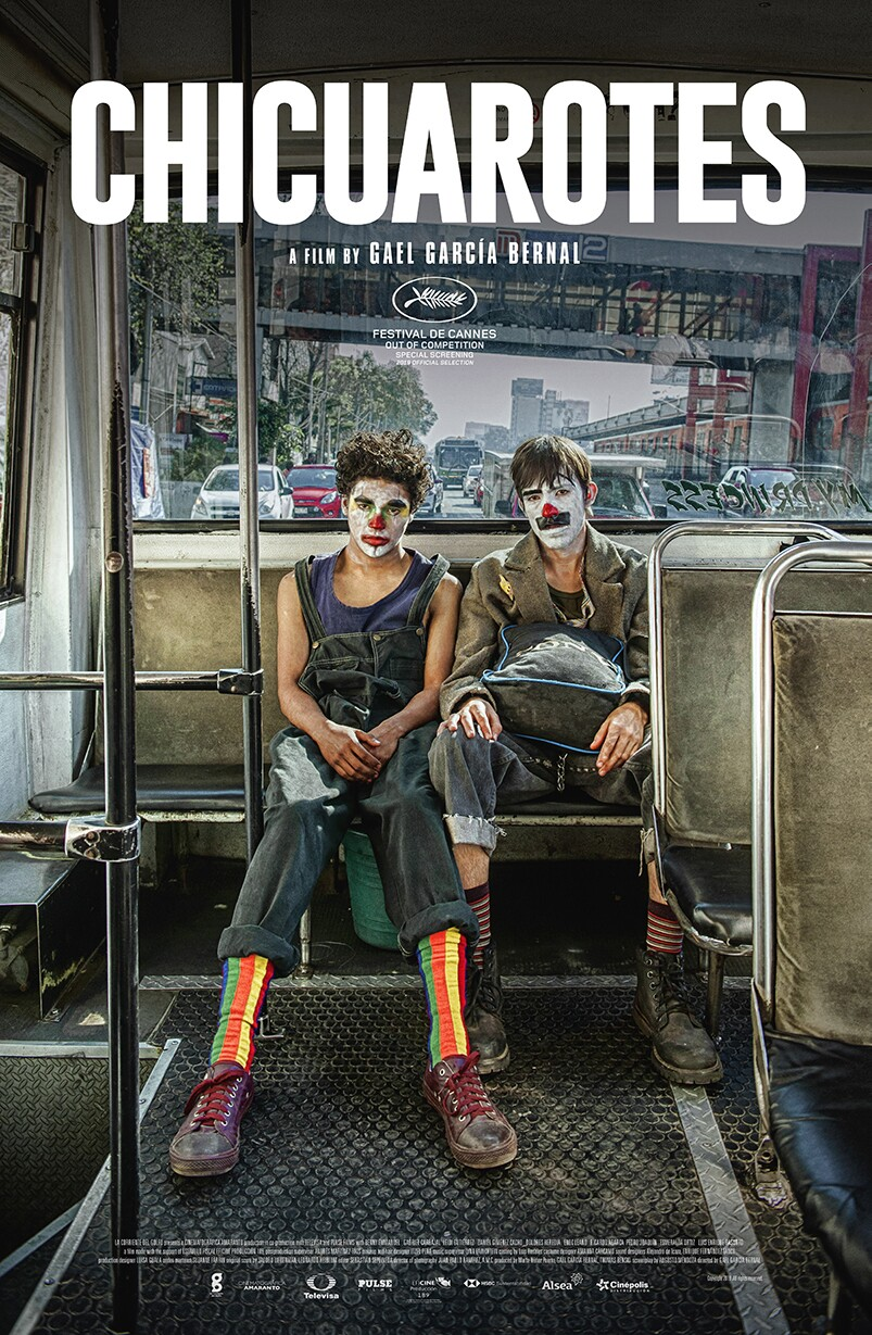 """Chicuarotes"" is the second film directed by Gael Garcia Bernal and the opening film of the festival. The poster shows two young mean with clown faces sitting at the back of a bus. 