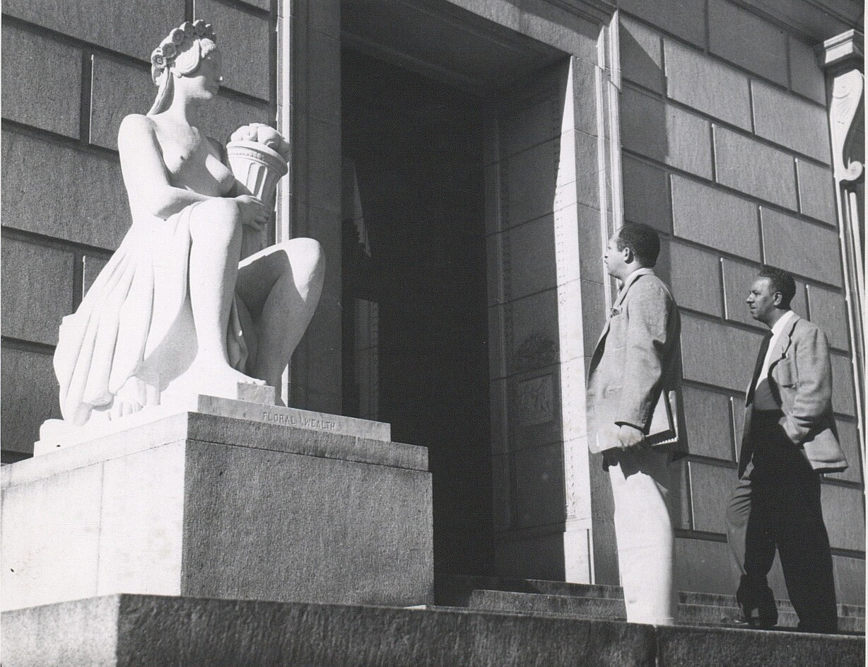"""The artists viewing Edward Field Sanford, Jr.'s """"Floral Wealth"""" (1924) at the California State Library in Sacramento"""