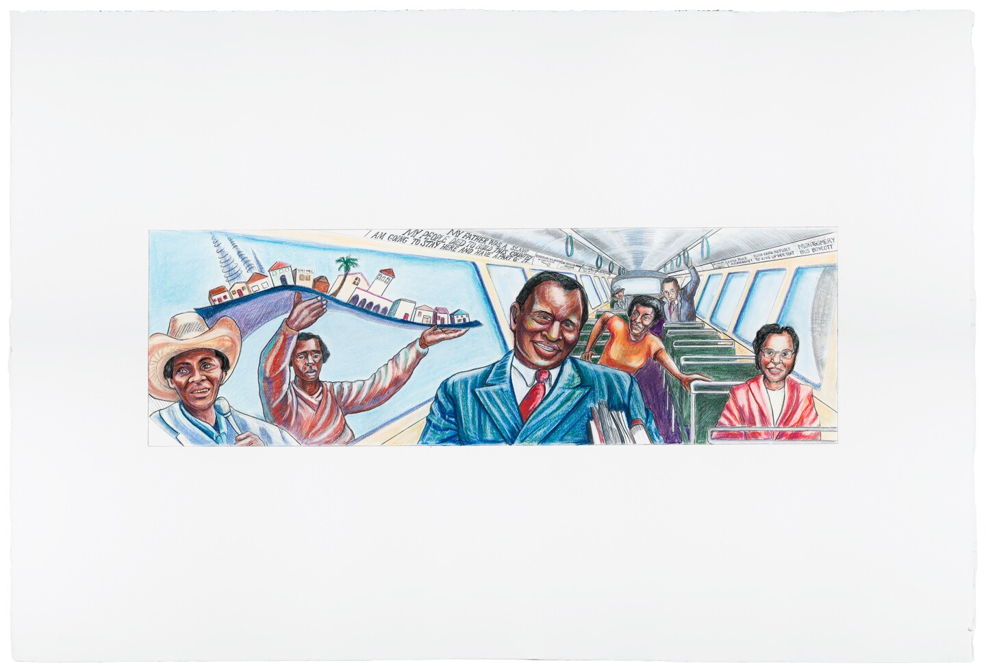 "The final coloration of Judy Baca's ""The Great Wall of Los Angeles 1950: Forebearers of Civil Rights"" depicts prominent civil rights leaders and activists like Paul Robeson, Rosa Parks, Gwendolyn Brooks, Ralph Bunche and Martin Luther King, Jr rising from their bus seats."
